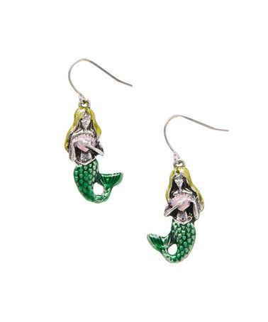 Look what i found on zulily silvertone green mermaid drop earrings zulilyfinds