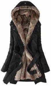 parka fille 12 ans hiver capuche fourrure noir manteau Trench coat veste Etiquette L
