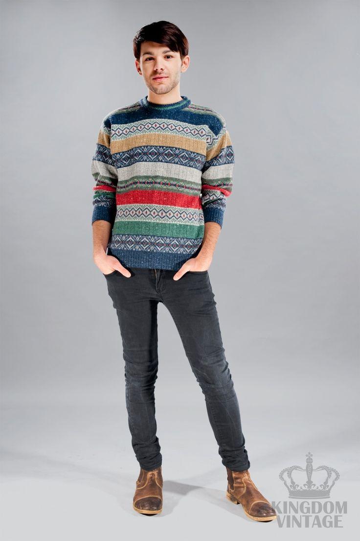 męski vintage sweter we wzory od Kingdom of Vintage
