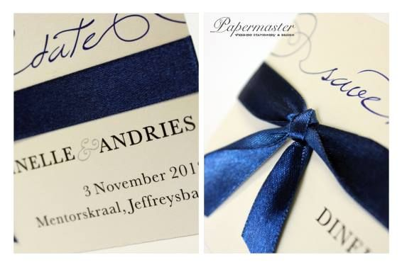 Small Save the Date with Ribbon Tie and Magnet Back Port Elizabeth Wedding Stationery  Papermaster