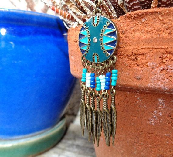 Bohemian Blue Enamel and Bead Necklace with Bronze Feathers, Bronze Necklace, Boho Necklace, Hippie Necklace, Feather Necklace, Gift for Her