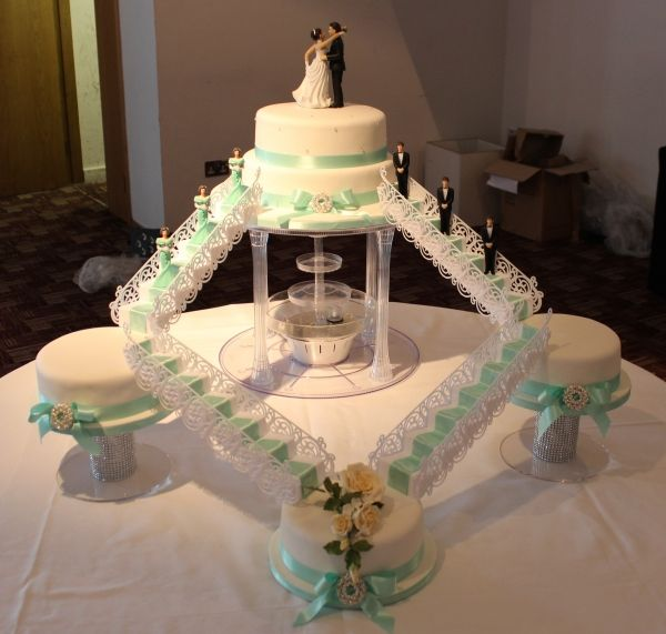 Mint Green Bridge And Water Fountain Wedding Cake No 1342