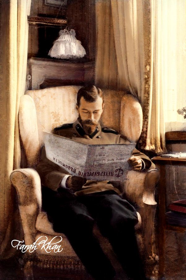 Nikolay II reading St Petersburg's News. Interesting, that Tsar is sitting in the Mauve Boudoir, in the favorite lilac armchair of his wife Alix. This armchair  is still saved in Alexander Palace, St Petersburg ~