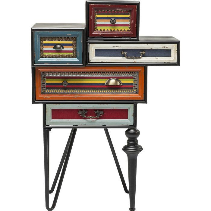 Συρταριέρα Fun Factory (5 συρτάρια) Ένα υπέροχο έπιπλο με διαχρονική αξία και vintage look. Μία ιδιαίτερη σύνθεση με πέντε συρτάρια που δημιουργούν μία πρακτική λύση με αποθηκευτικό χώρο σε όποιο χώρο του σπιτιού αποφασίσετε να το τοποθετήσετε.Υλικό: Πλαίσιο από μέταλλο και λακαριστό MDF, μεταλλικά συρτάρια επικαλυμμένα από λινό υφαντό, συρτάρια από ξύλο έλατου και πόδια από ξύλο και μέταλλο.