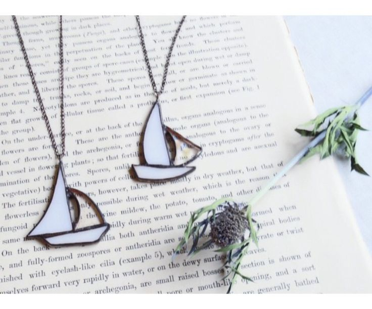 Stained glass sailboat necklace