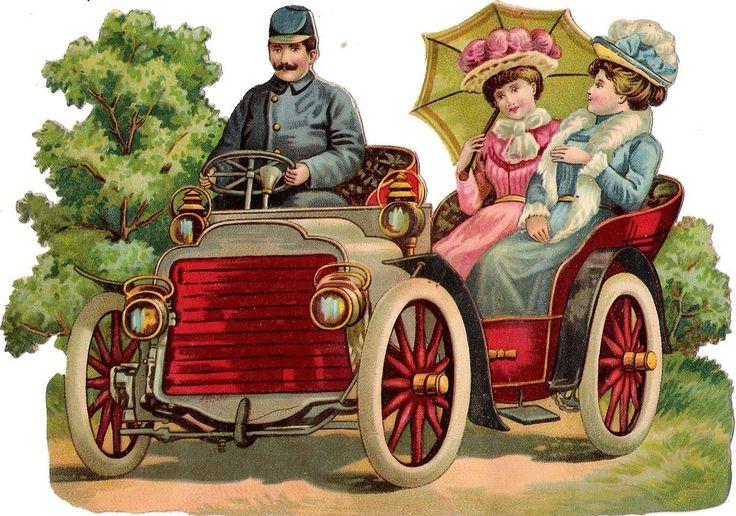 Oblaten Glanzbild scrap die cut chromo Lady  17cm femme Dame Oldtimer Auto car