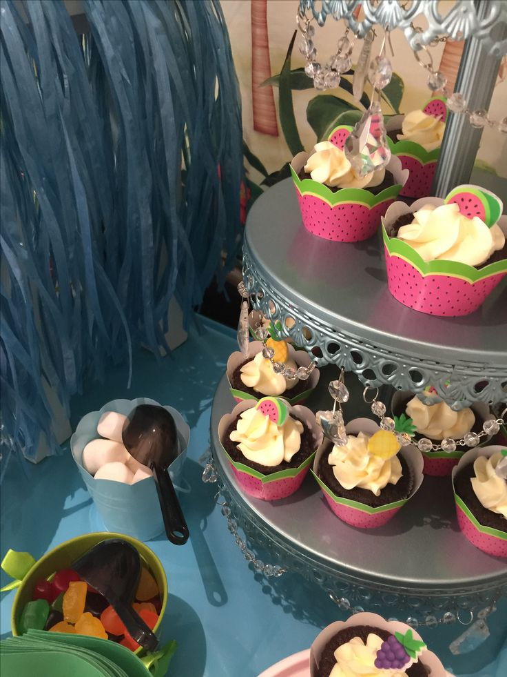 Aloha theme sweet candy bar -cupcakes and cake pops-birthday party