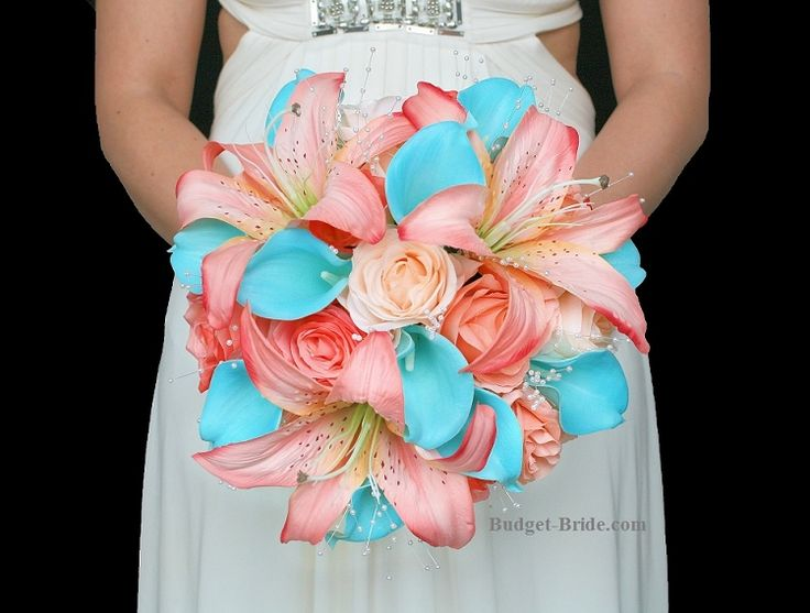 Miami Beach Wedding Flower brides bouquet with peach lilies, coral and peach roses and turquoise malibu calla lilies with pearls.