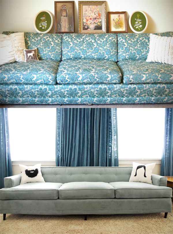 Reupholstery before and after, the after is my dream couch ...