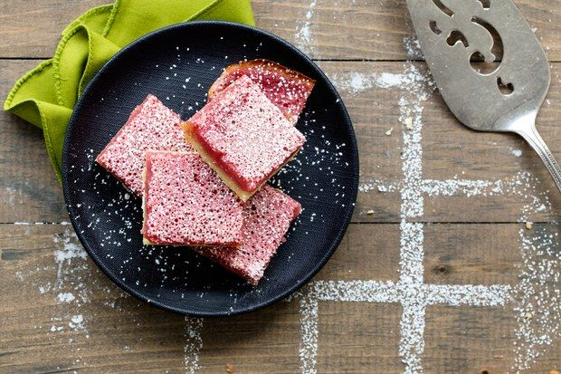 How do you make lemon bars even better? Turn them pink. Add bright color and tangy flavor with a splash of fresh raspberry purée.