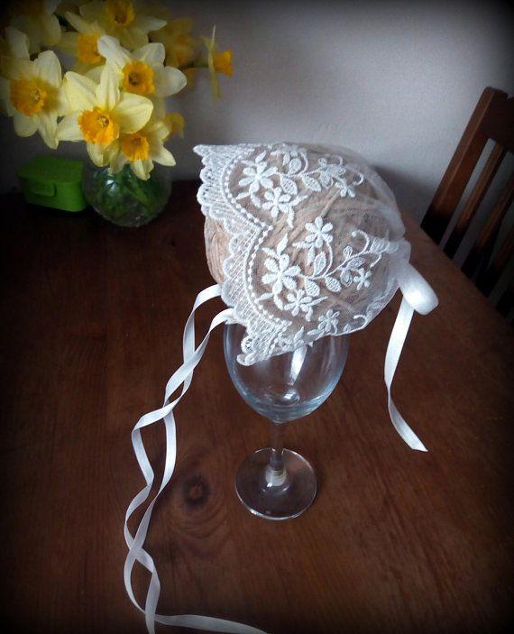 Baptism Girls hat ivory lace hat Christening bonnetlace
