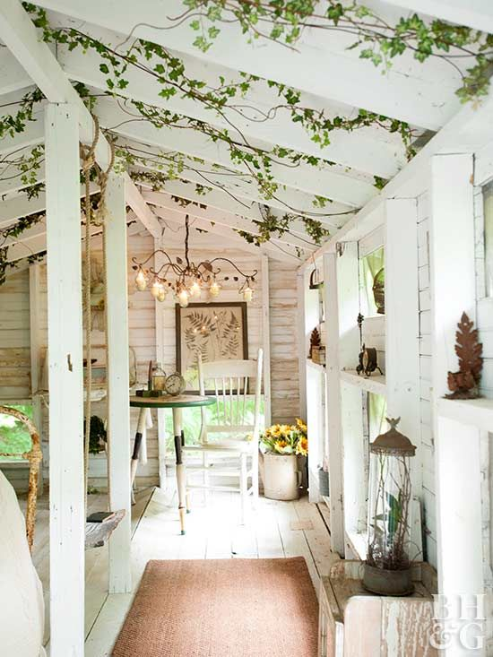 This stunning space looks like it could be part of a set forA Midsummer Night's Dream. The ivy-wrapped beams, plus an elegant chandelier, wooden furniture, and pinecone accents, make for a dreamy small space. Try the trend with faux greenery in your attic or outdoor room to create a gorgeous she-shed escape.