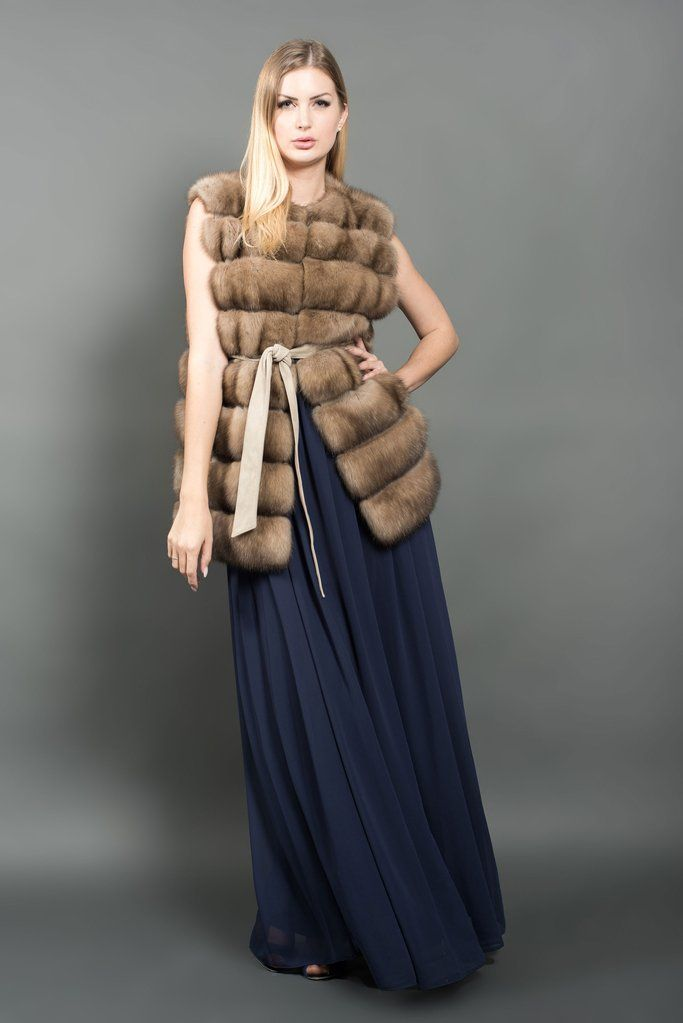 A Russian Barguzin sable fur vest that is belted at the waist. This model has classical horizontal tailoring and pockets. Designed and produced in Italy using