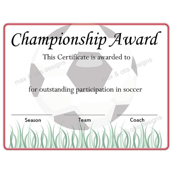 Soccer Championship Award Certificate by maxandotis on Etsy, $500 - sports certificate in pdf
