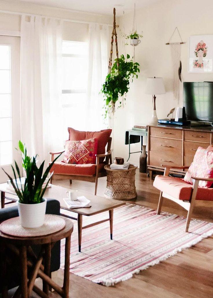 sala decorada ao estilo boémio - decorar com plantas
