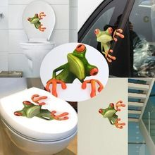 3D Green Frog Car Stickers Personalized Gekkonidae Car Stickers Rear View Mirror Garland Toilet Wall Sticker Home Decor(China (Mainland))