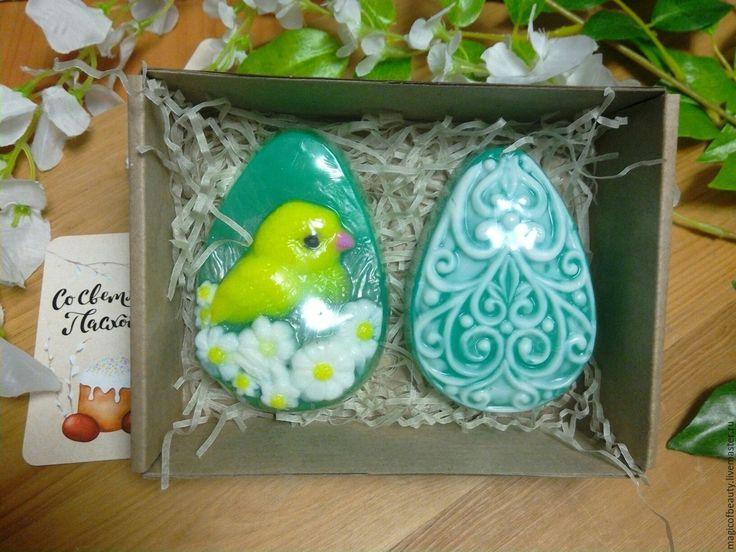 Купить Пасхальный набор мыла (цыпленок и яйцо) - тёмно-бирюзовый, яйцо, яйцо пасхальное