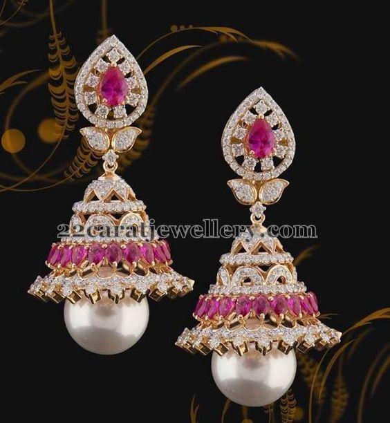 Jewellery Designs: Diamond Jhumkas with Invisible Rubies: