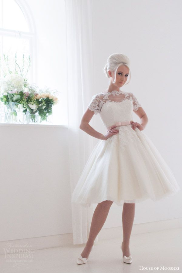 Popular house of mooshki bridal kimmie short tea length tulle lace wedding dress short lace sleeves