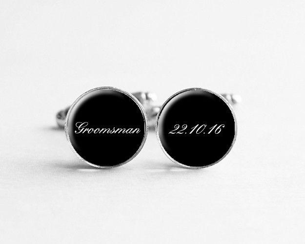 Cufflinks – Groomsmen Cufflinks, Wedding Date, c139 – a unique product by petiteVanilla on DaWanda