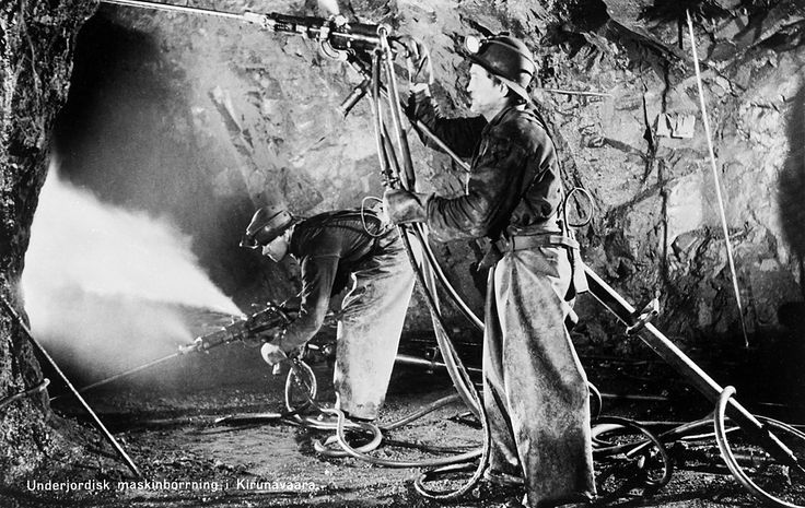 Miners drilling in the Kiirunavaara mine in Lapland.   Gruvarbetare som borrar i Kiirunavaara gruva.   Parish (socken): Kiruna Province (landskap): Lappland Municipality (kommun): Kiruna County (län): Norrbotten  Photograph by: Unknown. Almquist & Cöster Date: 1940-1959 Format: Cliché, film with text  Persistent URL: kmb.raa.se/cocoon/bild/show-image.html?id=16001000394644  Read more about the photo database (in english): kmb.raa.se/cocoon/bild/about.htm...