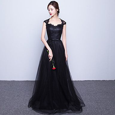Formal Evening Dress A-line Sweetheart Sweep / Brush Train Lace / Tulle with Sash / Ribbon 2016 - $99.99