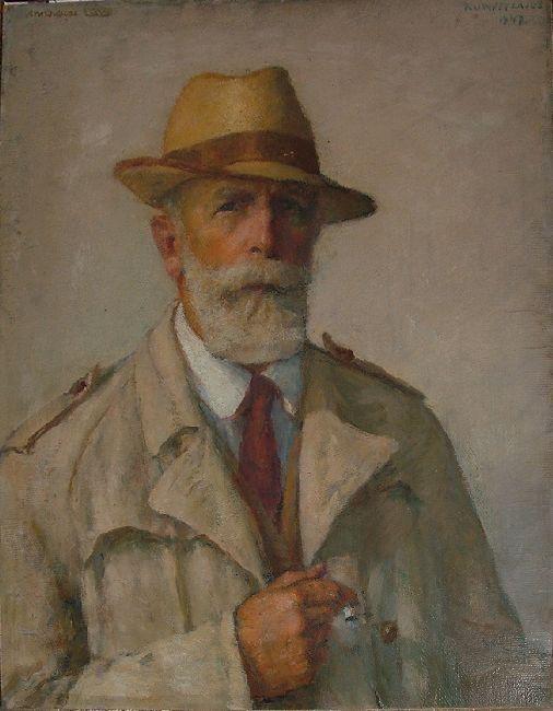 Self-portrait with raincoat | Kunffy Lajos | 1947 | Rippl - Rónai Megyei Hatókörű Városi Múzeum - Kaposvár | CC BY