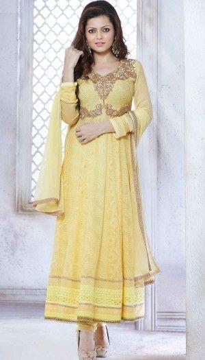 Drashti Dhami, Yellow Poly Georgette Resham Stone Embroidered Long Anarkali Suit With Chiffon Dupatt