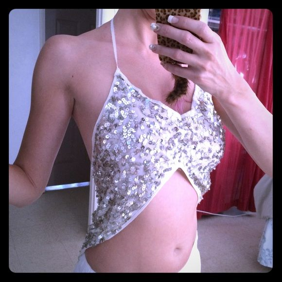Sequin Mermaid Festival Halter Top Gorgeous top!! It glitters in the sun and is also perfect for going out at night!! Amazing festival top also! Exotic dancer, stripper bling? Ties at neck. Low cut back is very sexy. Lined so no itching. Coachella festival wear! Nani Kino Maui Tops Crop Tops