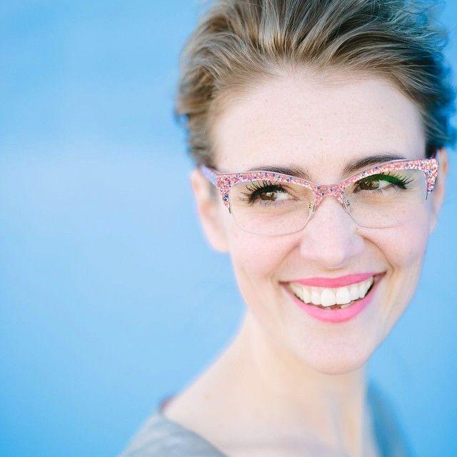"e676e3137e6 ""Close up of  karlareed in the Kate Spade  Lyssa  glasses in Pink Glitter."