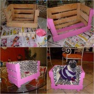 Cama para mascota con caja de madera, encuentra los pasos para hacerla en http://www.1001consejos.com/cama-para-mascotas/