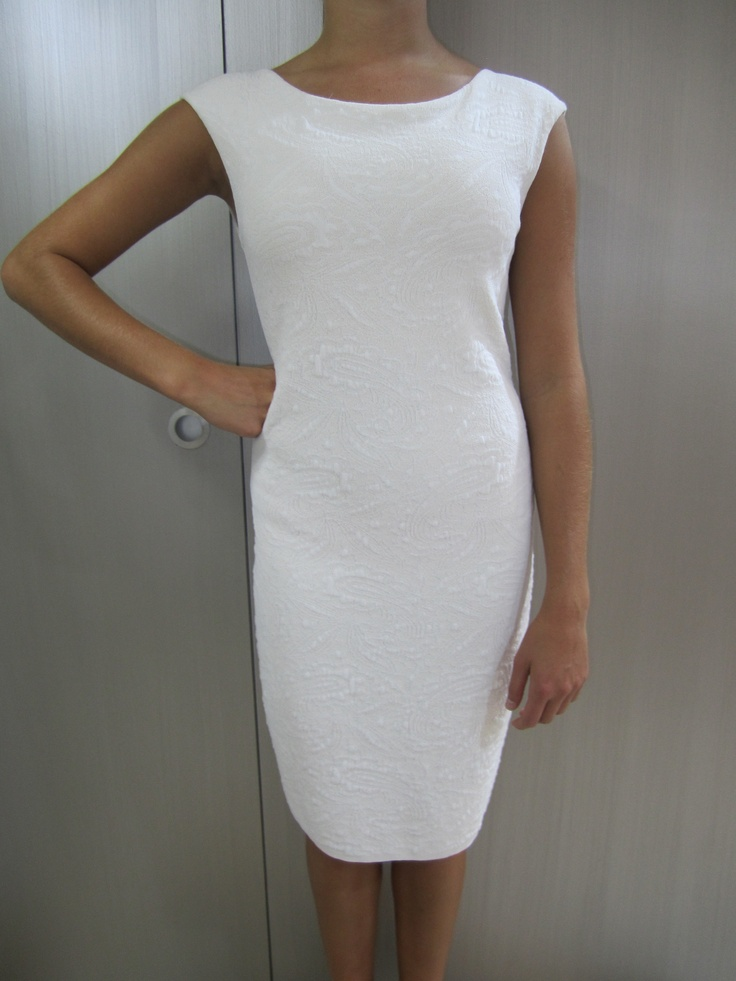 Cream brocade knit dress