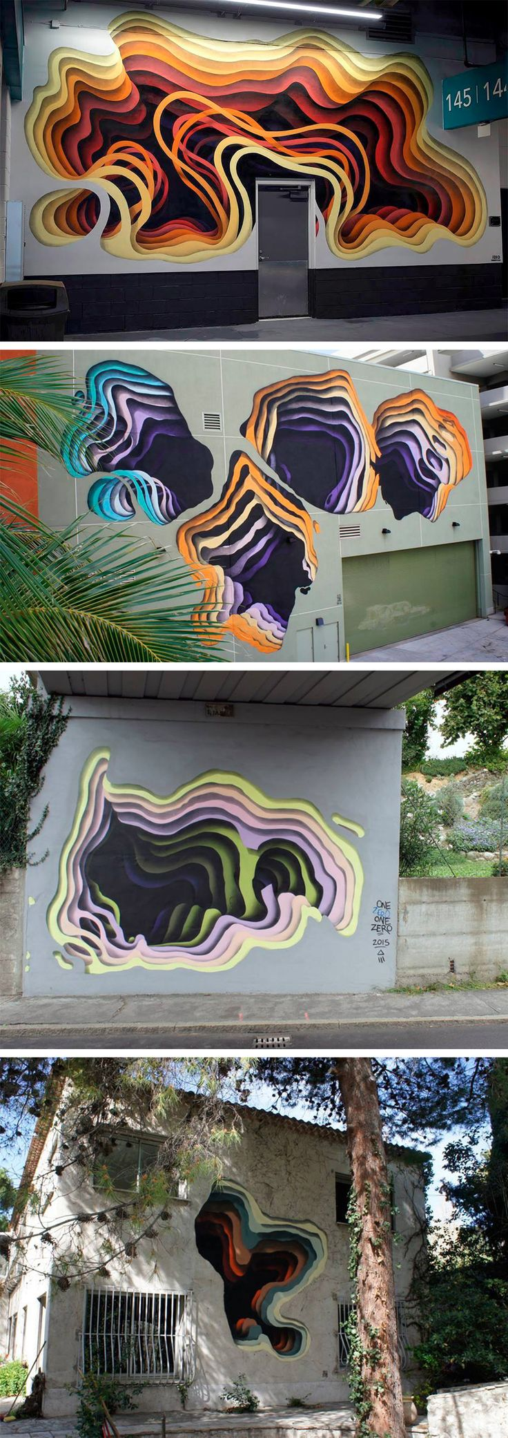 New Cavernous Murals by German Street Artist '1010' Muro con capas de colores, pared