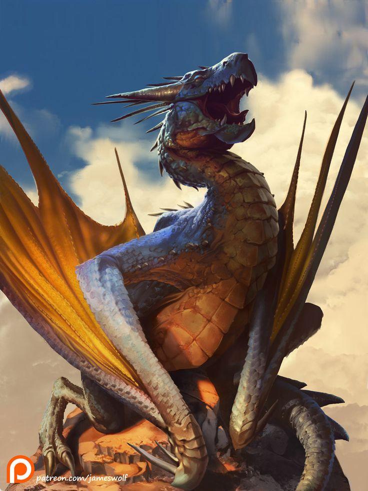 Sunbathing Dragon Final S by jameswolf.deviantart.com on @DeviantArt