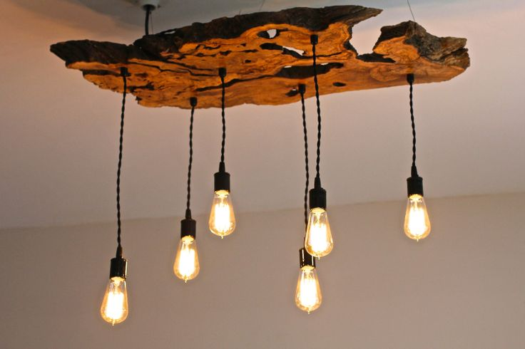 Olive Wood LiveEdge Slab Light Fixture with Free by 7MWoodworking