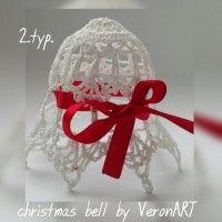 Karácsonyi fenyődísz csengettyű, horgolt