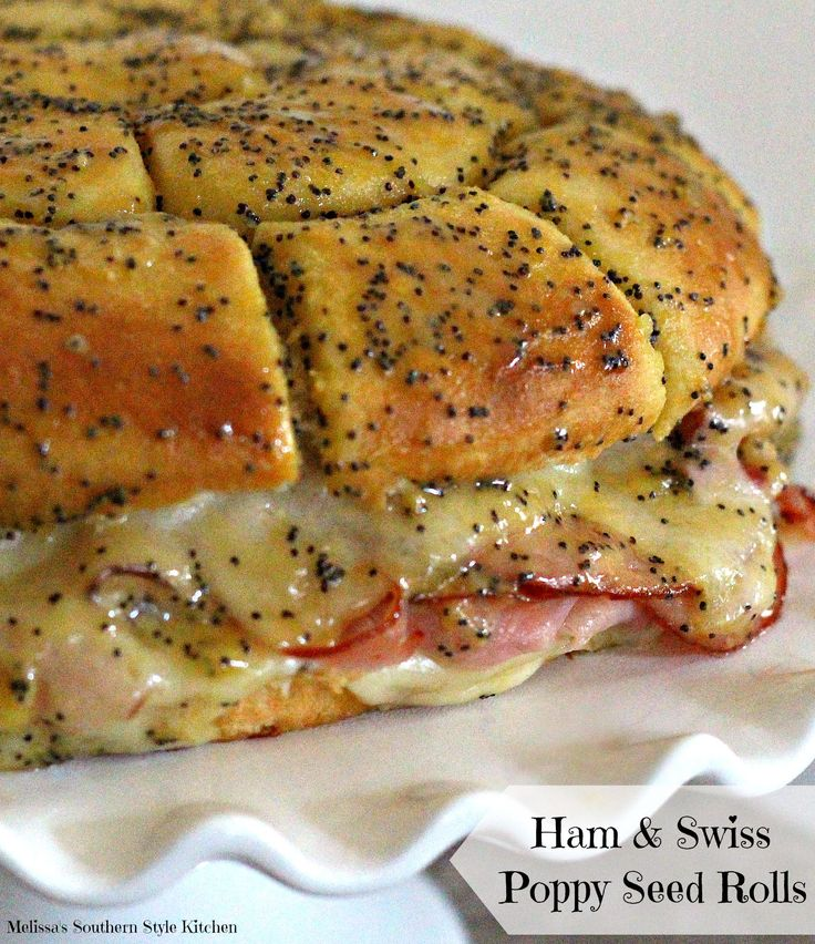 Ham And Swiss Poppy Seed Rolls - During the holidays the front door of my house magically becomes a revolving door. Friends and family come and go throughout the entire season