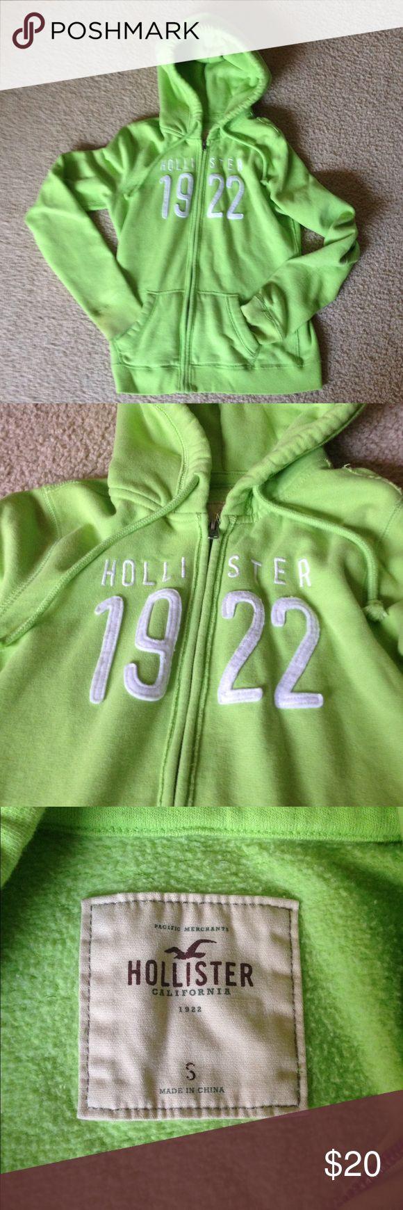 Hollister zip up hoodie size Small Excellent condition lighter green zip up hoodie by Hollister Hollister Tops Sweatshirts & Hoodies