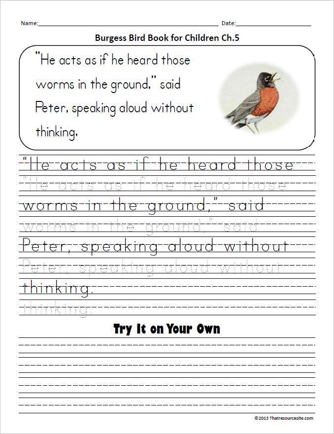 Burgess Bird Book Copywork for Ch.1-5