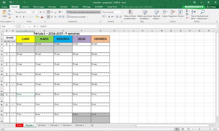 Modèle vierge de semainier pour progression / période - Zone A + B + C - 2016-2017 - Maikresse 72 - mes petites idées pour la classe..