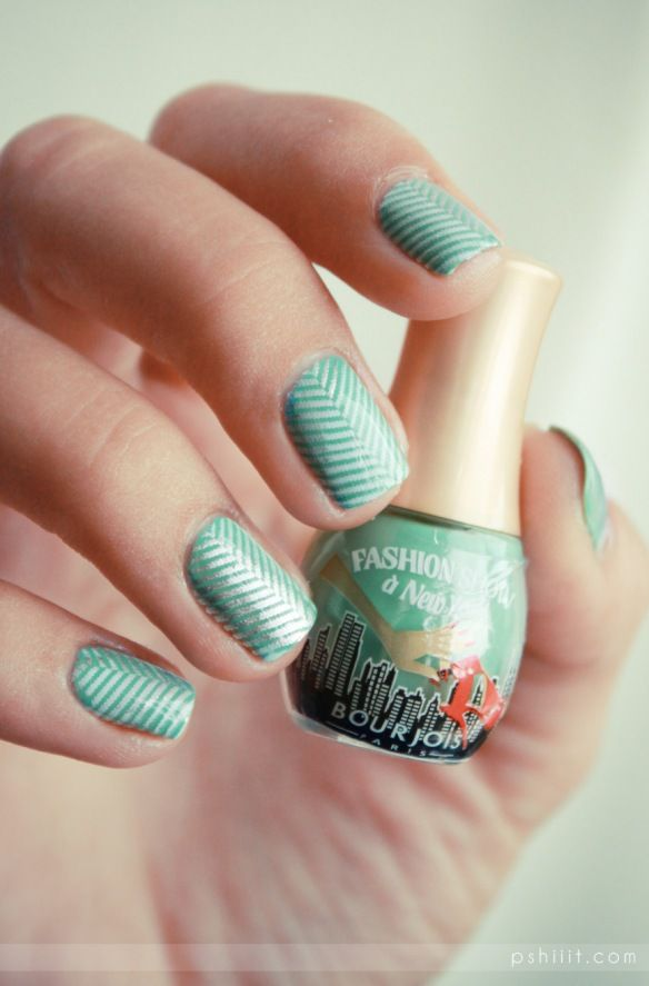 stamping gradient--Bourjois nail polish with a Cheeky nail plate