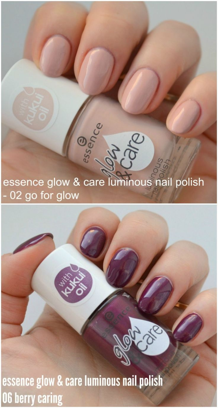 Essence Glow & Care Luminous nail polish in 02 Go For Glow and Essence Glow & Care Luminous nail polish in 06 Berry Caring swatches and review.  via @beautybymissl
