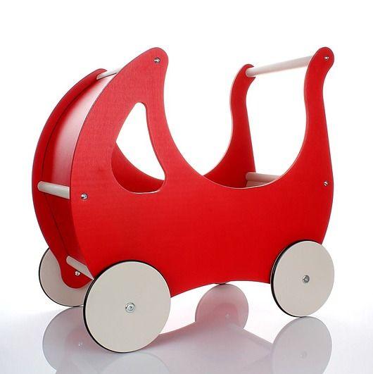 zabawki - klocki i zabawki drewniane-Drewniany wózek dla lalek /pchacz