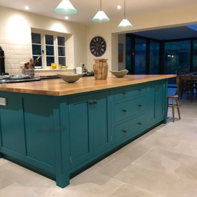 Teal Hand Painted Kitchen With Large Island And Flat Panel Cabinets Teal Kitchen Cabinets Kitchen Island Cabinets Kitchen Pantry Design