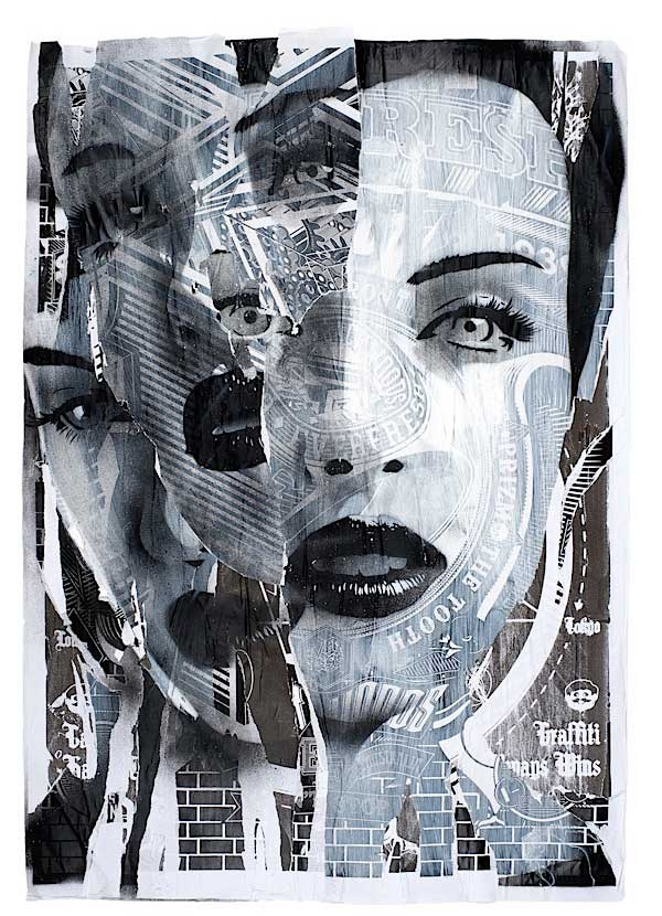 The different positioning of her face and the use of newspaper creates a unique kind of beauty and expresses variety. (text, line)
