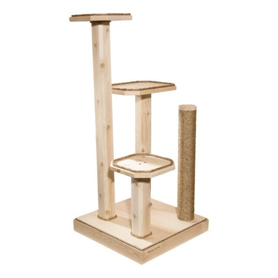 53 Inch Three Level Cat Tree with Cedar Posts - Free Shipping