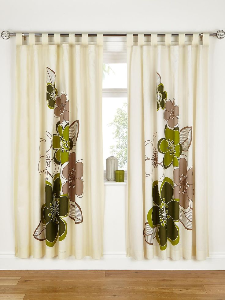 Candice Lined Tab Top Curtains - Green | very.co.uk
