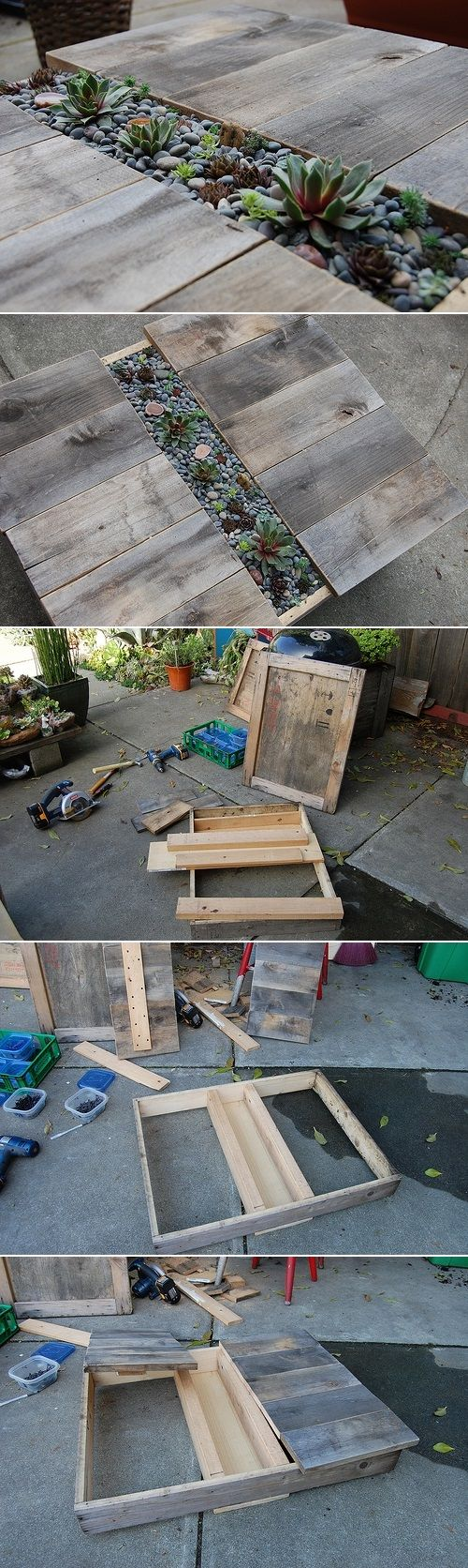 DIY Patio Table With Built-In Succulent Centerpiece