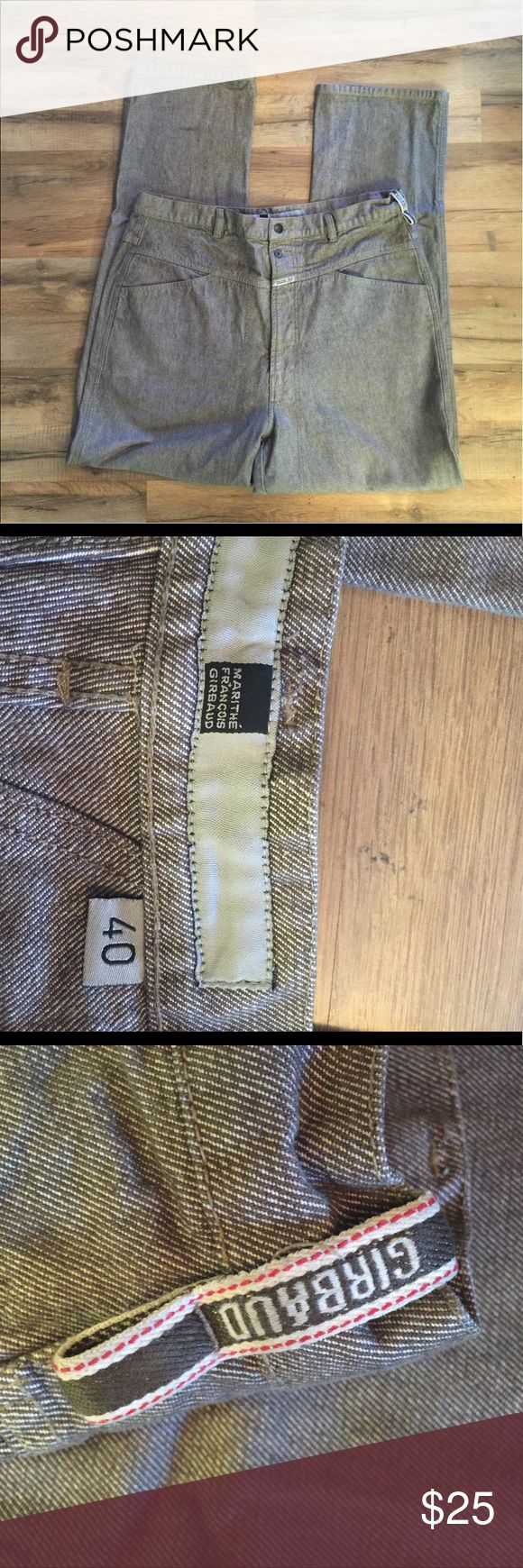 Men's Marithe Francois Girbaud jeans Men's Marithe Francois Girbaud jeans size 40 waist in like new condition .....the measurements laying flat are. Waist 20 inches. Inseam 33 1/2 inches, Front rise 16 inches, leg width 9 1/2 inches. marithe francois girbaud Jeans Straight