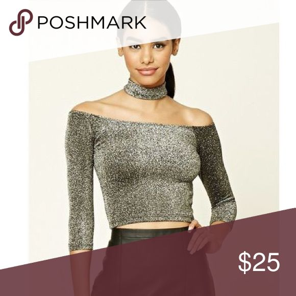 b25e2b88ac7d Glitter Choker Top Gorgeous glitter crop top with an attached choker. Super  stretchy and comfy! New with tags! Brand is forever21 Bran…